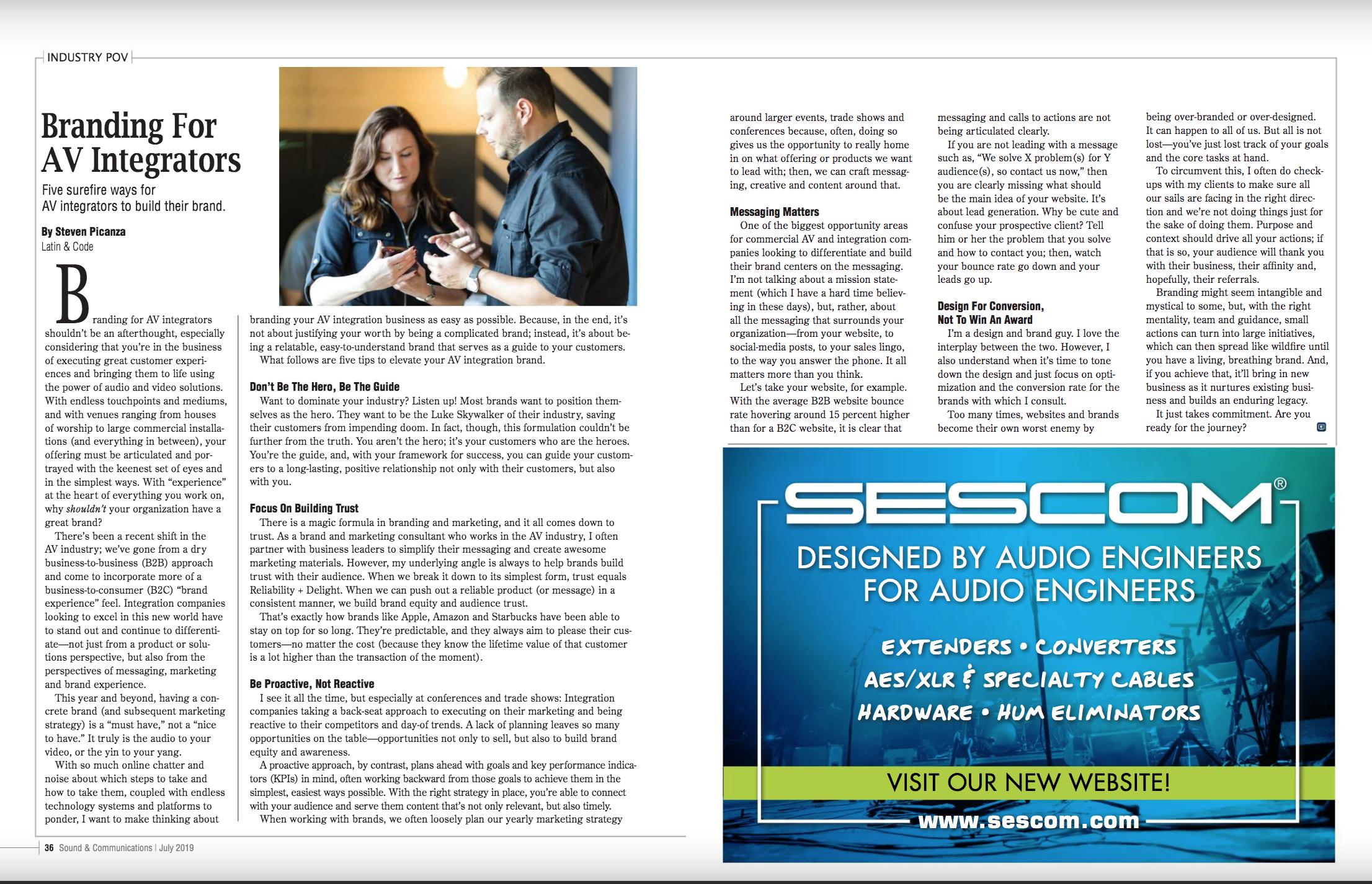 sound and communications branding for AV integrators article
